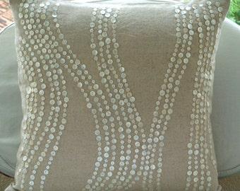 Decorative Pillow Sham Cover Accent Pillow Couch Toss Bedding Sofa Pillow Sham 24x24 Natural Linen Pillow Sham Cover Embroidered Linen Charm