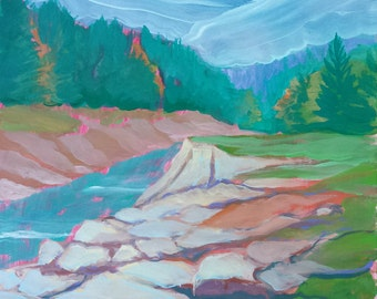 Quartzville Creek 5 original plein air abstract landscape oil painting