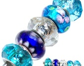 MERZIEs 5 silver lampwork glass faceted acrylic European Charm large hole chain beads - blue white pink clear