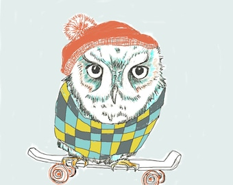 This Is Serious, Owl Skateboarder, Children Illustration, Kids Art Print, Fun Nursery Art