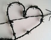Barbed Wire Heart - Black Heart - Vintage Wire Heart - Valentine Heart - Gothic Wedding - TAKEN...
