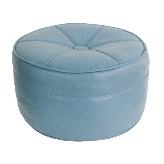 1960s Smokey Blue Hassock Mid Century Modern