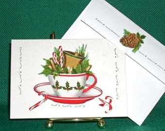 NOTECARDS--Christmas Cups in Fabric Applique