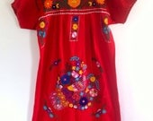 Rojas- Mexican embroidered dress large