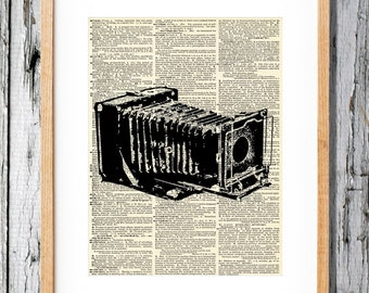 Folding Camera- Art Print on Vintage Antique Dictionary Paper - Photography - Flash - Picture -Vintage Camera 1