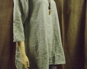 Lagenlook Washed Linen Tunic Dress Appliqued Hemline Custom Sizes and Colors