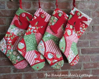 The Handmaiden's Cottage Patchwork Stocking PDF Pattern Instant download