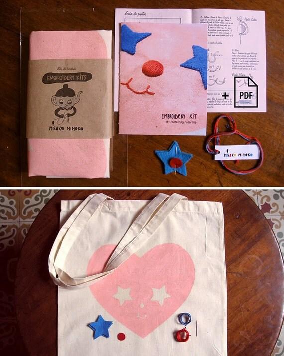 DIY Embroidery Kit. Tote bag Starter Needlecraft activity ...
