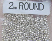 BEADS, 2mm, Sterling, SEAMLESS, Silver, Smooth, 100, 500, 1000 Pieces, Bright, or Antiqued,ROUND