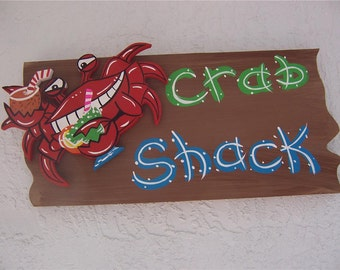 Tropical Whimsical Rustic Crab Shack Wood Sign