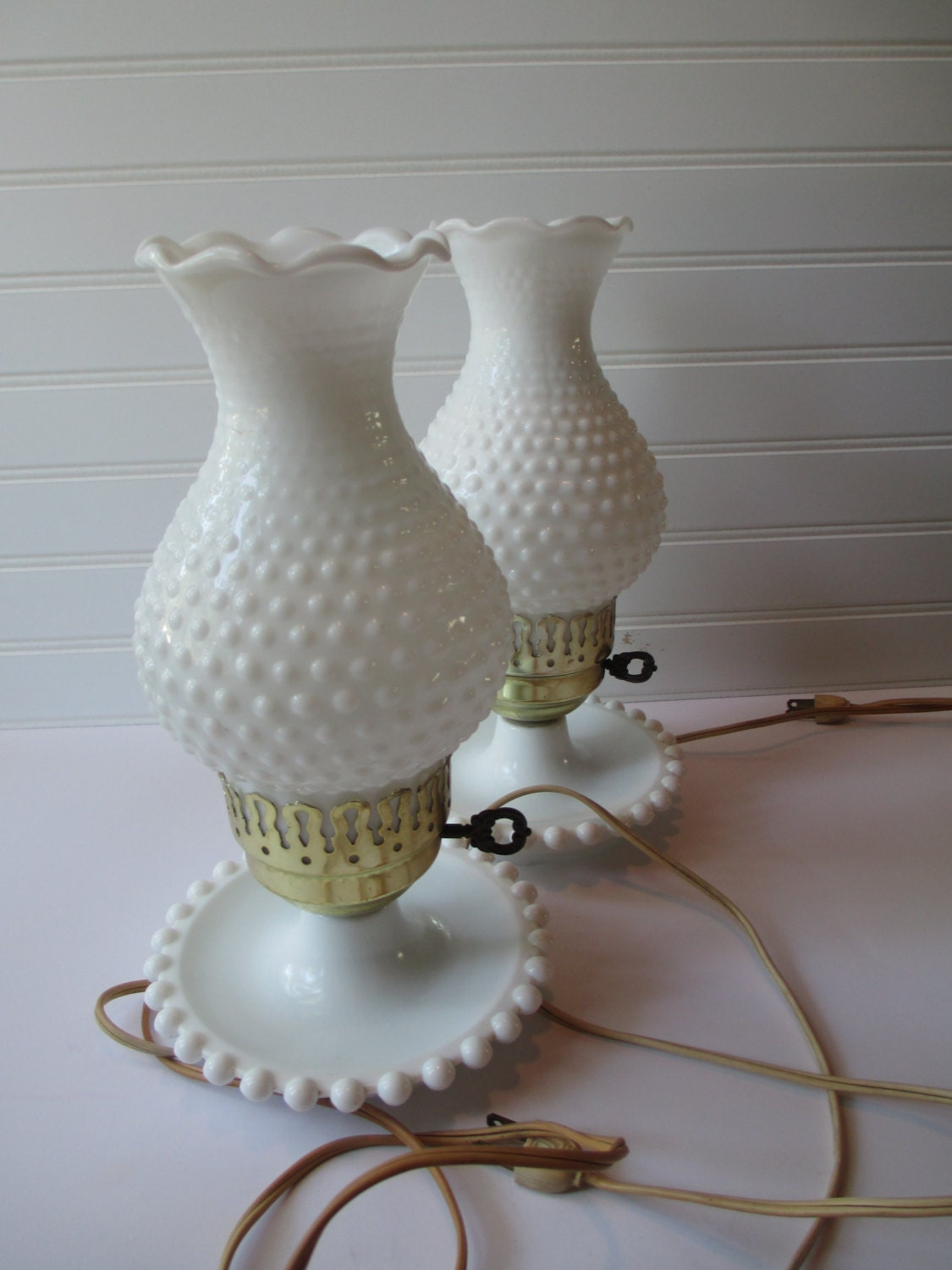 Vintage Milk Glass Hobnail Brass Pair Of Lamps Cottage Chic