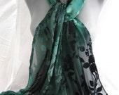 Teal/Viridian/Black Hand Painted Velvet Cut Silk Bouquet Flower Silk Scarf