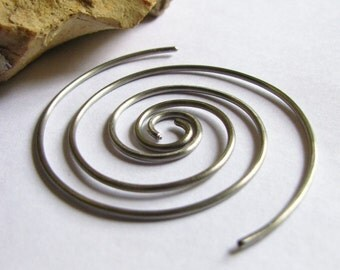 16 Gauge Titanium Hoop Earrings, Gauged Earrings, Endless Spiral Hoops, 16 Gauge Spiral Earrings, Titanium Earrings