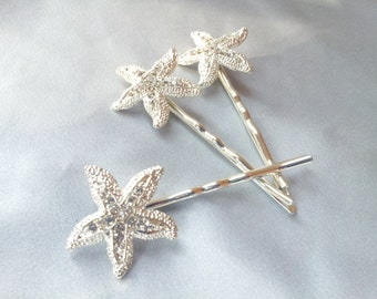 Starfish Hair Pins Bobbie Pin Rhinestone Beach Wedding