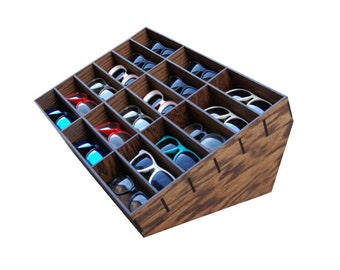 18ct Sunglasses Display Case Storage Holder Organizer Shelving Shelf 3D Glasses  Rack Oak Wood