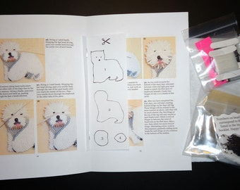 Beading Kit: WESTIE Bead Embroidery Dog Pin Beaded Animal Brooch 15/0 seed beads (For Personal Use Only) / Free US Shipping