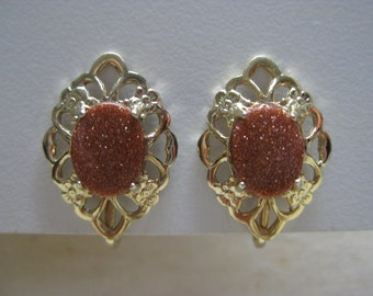 Copper Sparkle Gold Earrings Clip Vintage