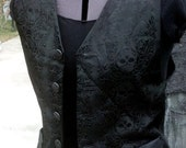 Gothic skull brocade vest size small unisex Steampunk Goth (sample piece)
