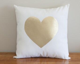 Gold Foil Heart Pillow