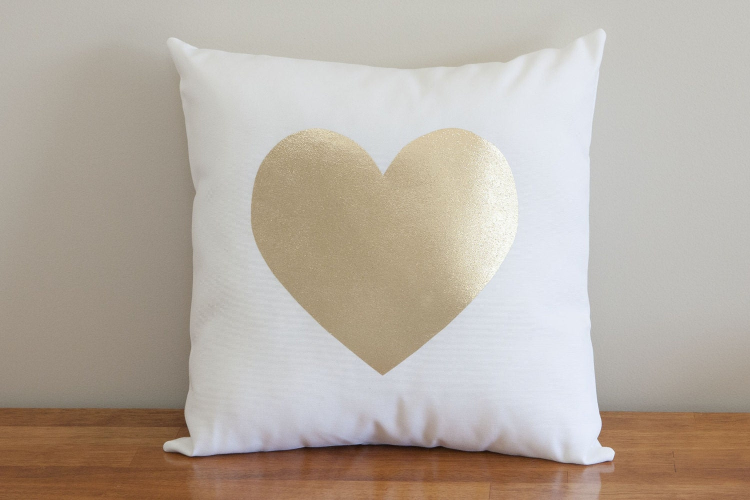 Gold Foil Heart Pillow