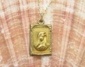 Vintage Madonna Pendant Necklace Medal Antique Jewelry N5701