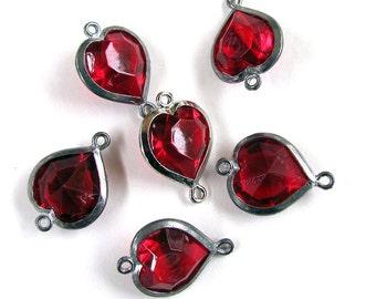 Vintage Lucite Ruby Heart Connectors Channels 10