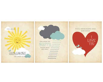You Are My Sunshine - Set of 3 Art Printables for a Child's Room - 5x7 - To Print On Your Own - Instant Download
