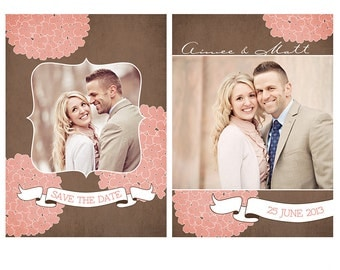 Hydrangea Save the Date Photoshop Template | for Professional Photographers and Photoshop Users | CS4001-4 | Instant Download!