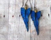 Tropical Earrings, Ocean Blue, Gold Brass, Caladium Leaves, Hand Patina, Wire Wrapped Dangles, Resort, Cruise