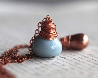 Pale Blue Opal and Copper Pendant, Double Strand Necklace, Wire Wrapped, Layering Necklaces, Gift Box