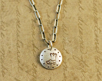 """1/2"""" Sterling Silver Hammered Handstamped Disk Round Charm with a Cowboy Boot"""