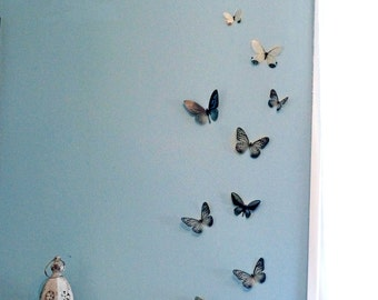 10 3D Black and white Butterfly wall Art made with plastic