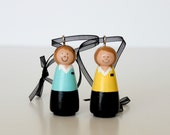 TWO Custom LDS Sister Missionary Ornaments Wooden Peg doll