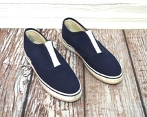 20 DOLLAR SUPER SALE! Navy Slip On Shoes 8 - Womens Boat Shoes - Navy Blue Flats