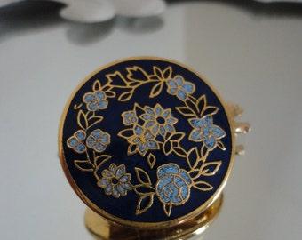 Hand Painted Enamel Floral Print brooch