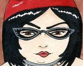 Cat Eye Glasses 5x7 art print Fat Girl BBW
