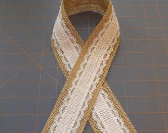 Ivory Burlap with Ivory Lace on Natural Burlap Ribbon
