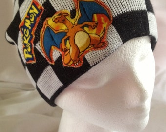 Checkered Hat with Pokemon Title Chaizard Applique Made from up-cycled Pokemon fabric