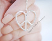 Peace Heart Necklace - Solid 925 Sterling Silver Pendant - Free Domestic Shipping