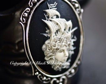 Lady of the Sea Gothic Necklace - Sailing Pirate Ship Cameo 40x30mm - Free Domestic Shipping - 2 Setting Colors