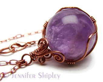 Amethyst Sphere Pendant Necklace - Natural Purple Gemstone Crystal Ball Wire-Wrapped with Nickel Free Copper, Healing Hypoallergenic Jewelry
