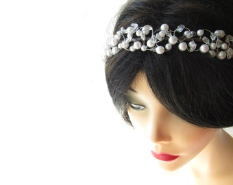 White faux pearl tiara headband, wedding head piece