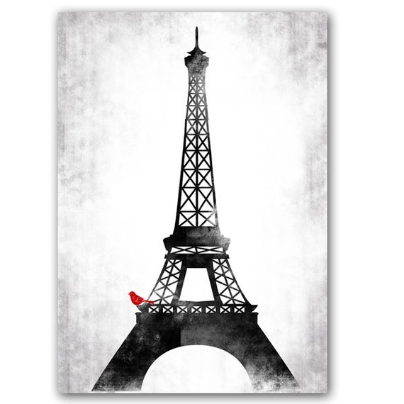 Eiffel Tower Fine Art Print Black and white with red by ...