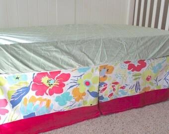 Hot House Floral Custom Crib Skirt - Ready to Ship
