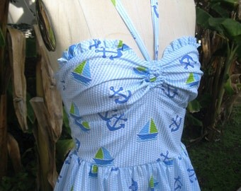 NAUTICAL 1940s vintage style halter sundress NEW cotton seersucker L only