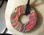 Indian Summer Paisley Swirl Upcycled Papers Hardware Washer Pendant Necklace