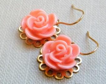 Pink Flowers -  Dangling Earrings