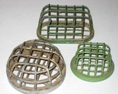 3 Vintage Metal Flower Frogs Cages Holders - paintedpony99