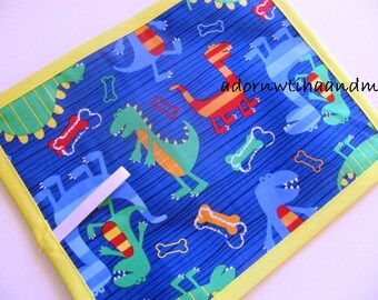 Chalkimamy BLUE Dino dudes TRAVEL chalkboard mat/ placemat (a)