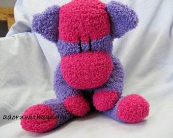 "Sockimamy  ""Marianne"" a hot pink and purple fuzzy sock monkey"